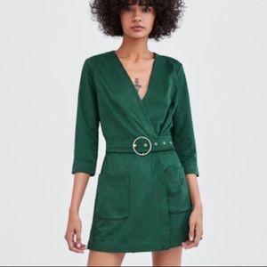 3/$30 Zara TRF Mini Army Green Romper Dress w Belt
